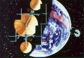 A giant comsat platform constructed in-orbit mostly from asteroidal and lunar materials